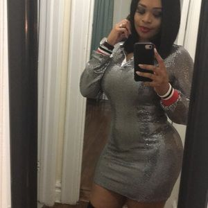 Fashion Nova silver collar dress